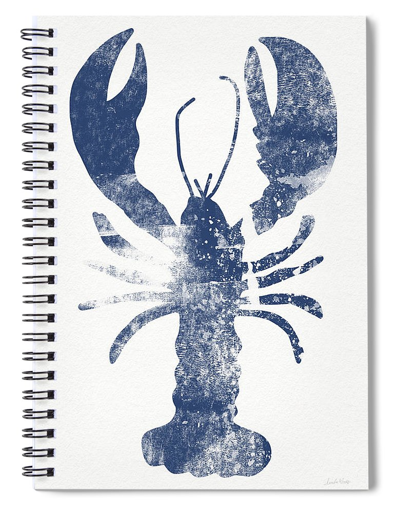 Cape Cod Spiral Notebook featuring the painting Blue Lobster- Art by Linda Woods by Linda Woods