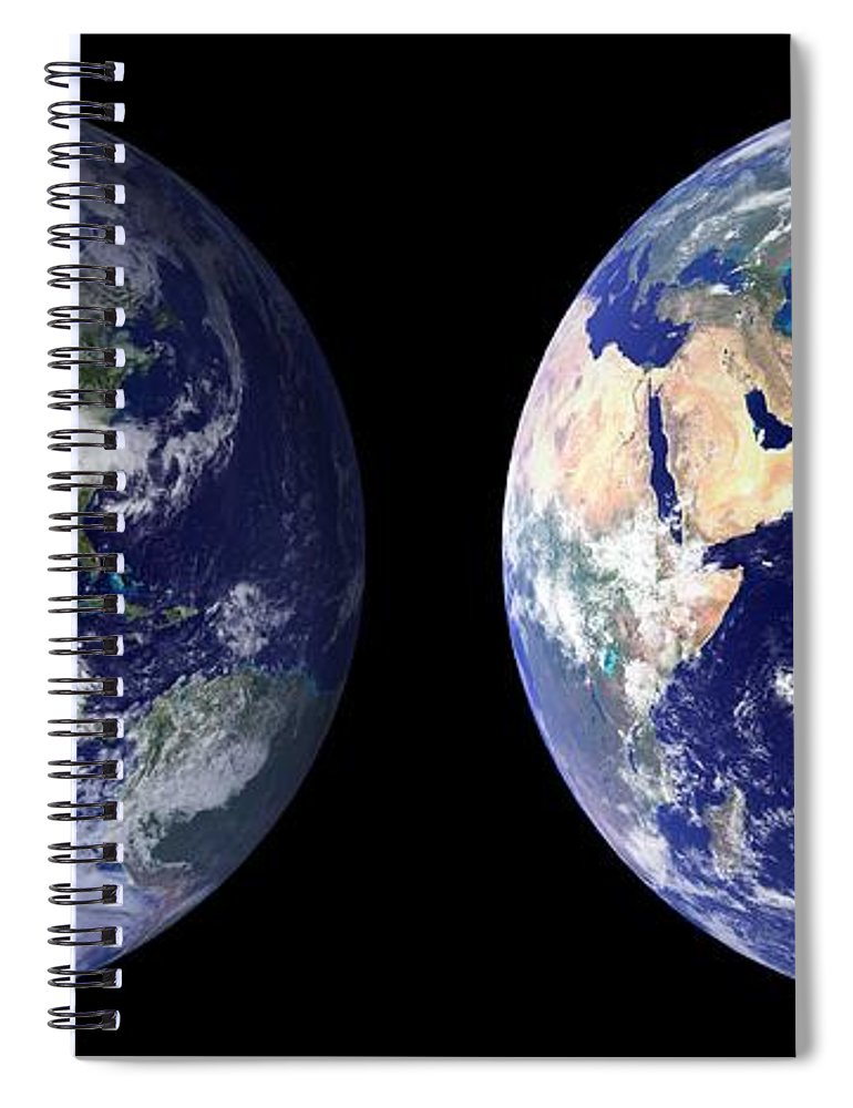 Earth Spiral Notebook featuring the painting Blue Marble Composite Images Generated By Nasa by Celestial Images