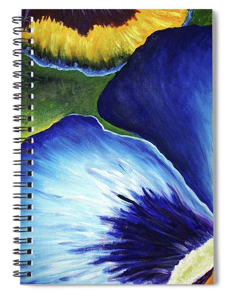 Pansy Spiral Notebook featuring the painting Blue Pansies by Nancy Mueller