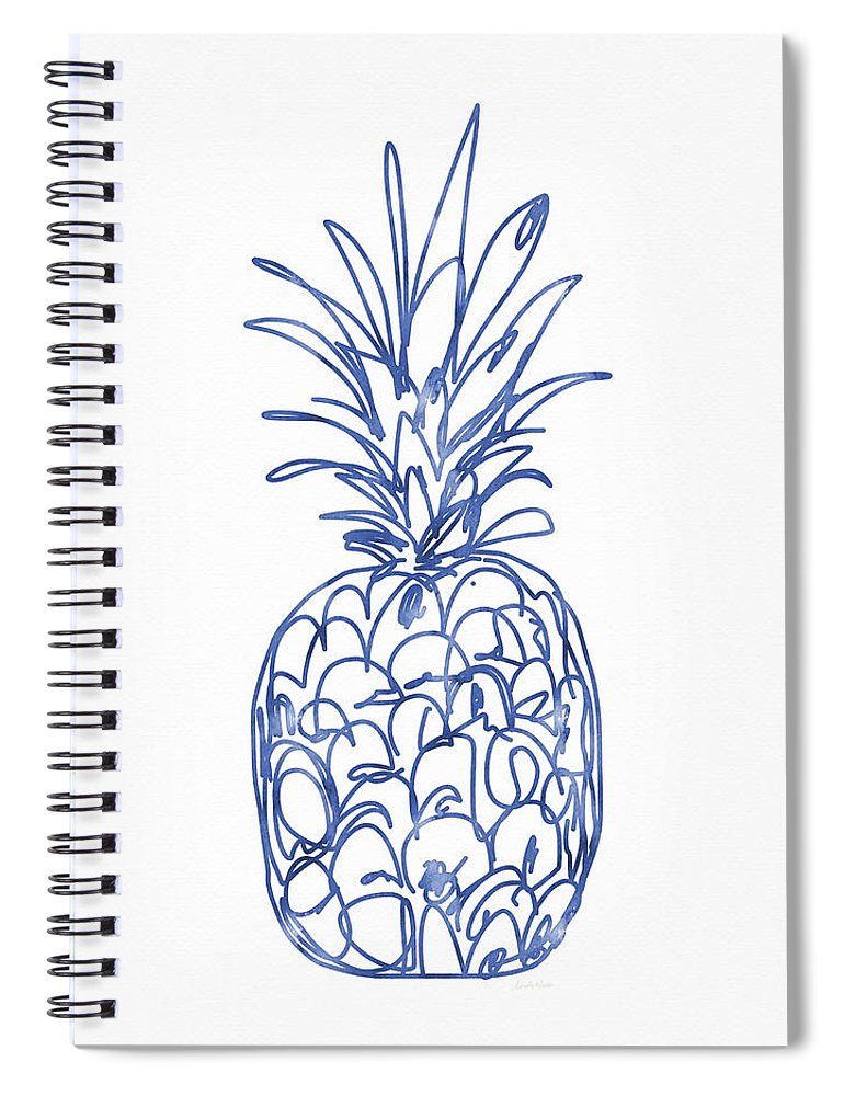 Pineapple Spiral Notebook featuring the painting Blue Pineapple- Art by Linda Woods by Linda Woods