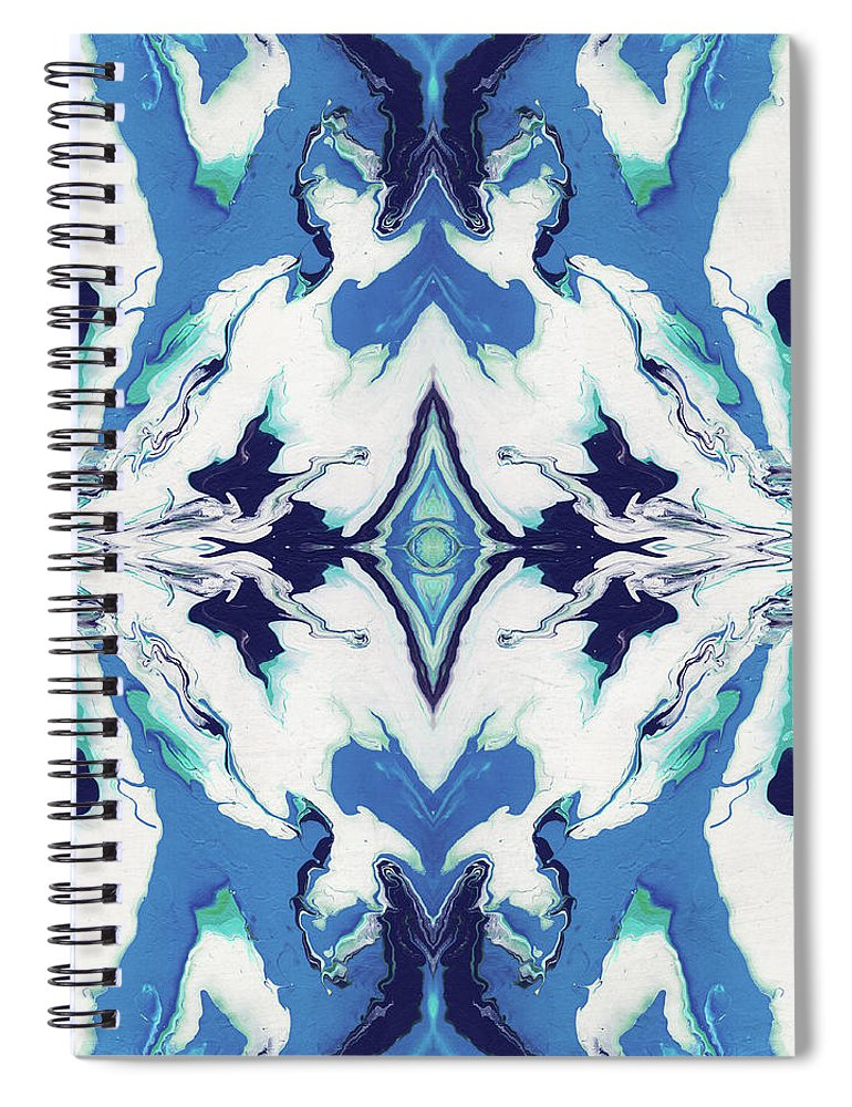 Fluid Spiral Notebook featuring the painting Blue Rhapsody Double- Art By Linda Woods by Linda Woods