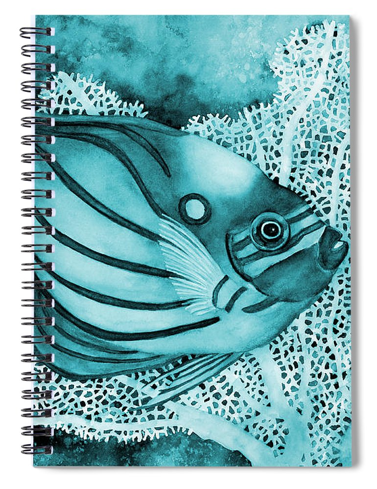 Fish Spiral Notebook featuring the painting Blue Ring Angelfish On Blue by Hailey E Herrera