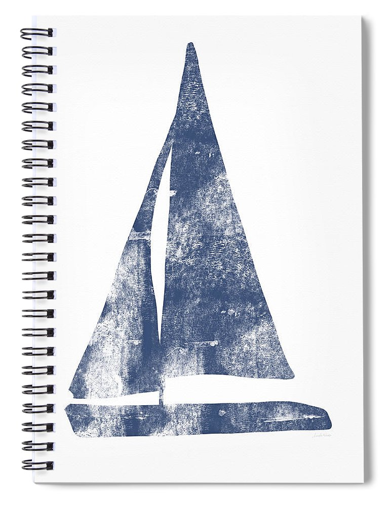 Boat Spiral Notebook featuring the painting Blue Sail Boat- Art By Linda Woods by Linda Woods