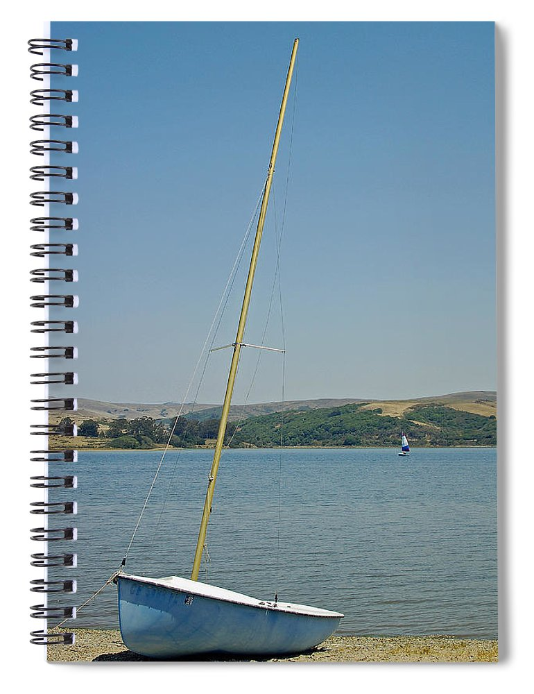 Blue Spiral Notebook featuring the photograph Blue Sailboat by Suzanne Gaff