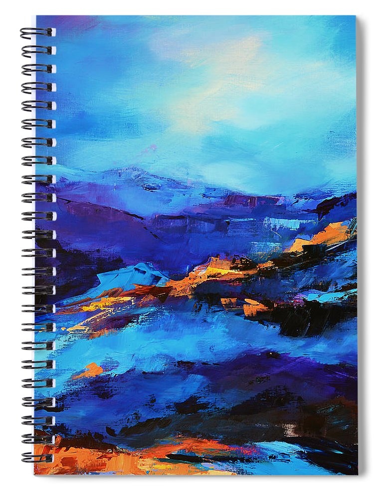 Grand Canyon Spiral Notebook featuring the painting Blue Shades by Elise Palmigiani