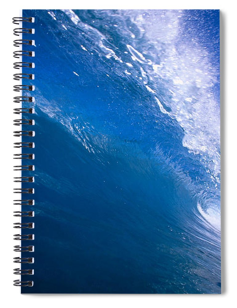 B1494 Spiral Notebook featuring the photograph Blue Translucent Wave by Vince Cavataio - Printscapes