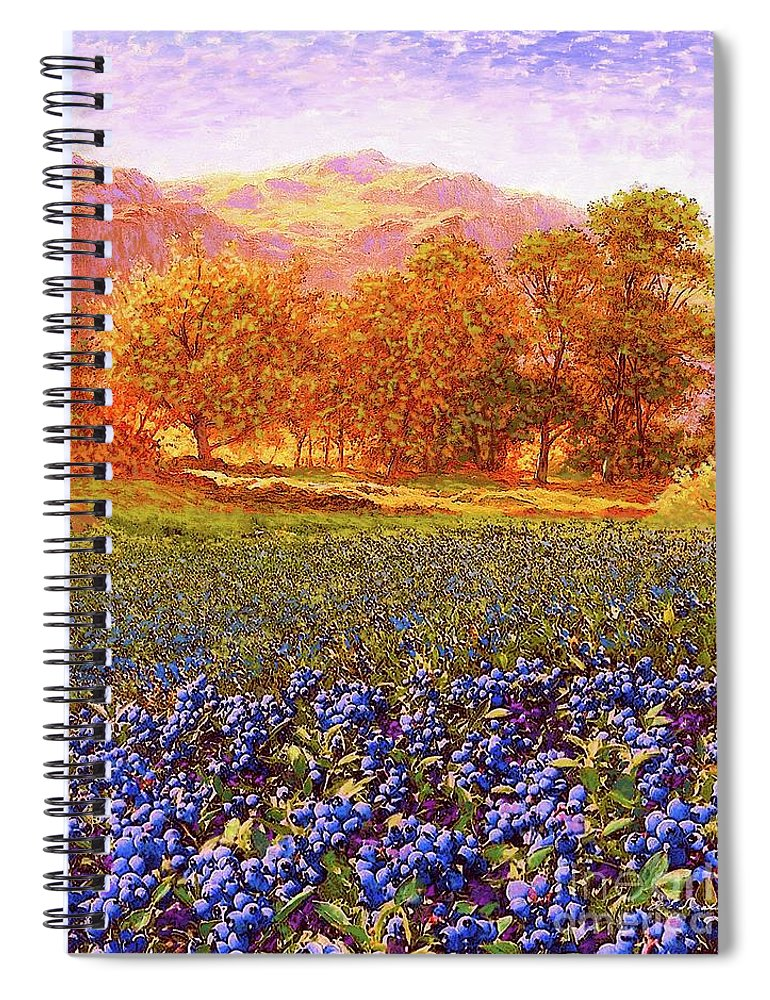 Tree Spiral Notebook featuring the painting Blueberry Fields by Jane Small