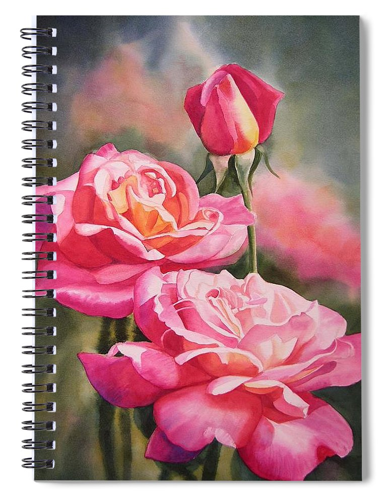 Rose Spiral Notebook featuring the painting Blushing Roses with Bud by Sharon Freeman