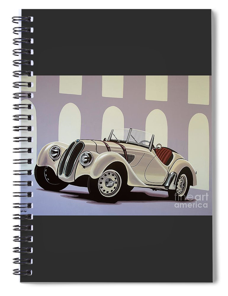 Bmw 328 Roadster Spiral Notebook featuring the painting Bmw 328 Roadster 1936 Painting by Paul Meijering