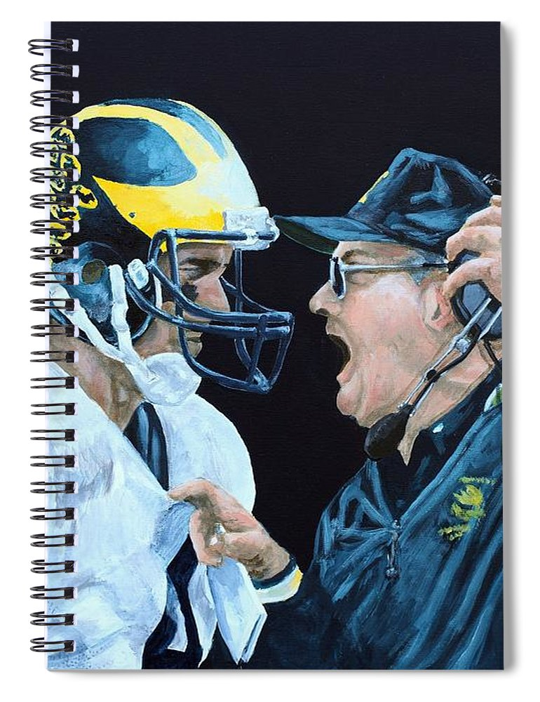 Michigan Spiral Notebook featuring the painting BO Knows by Travis Day