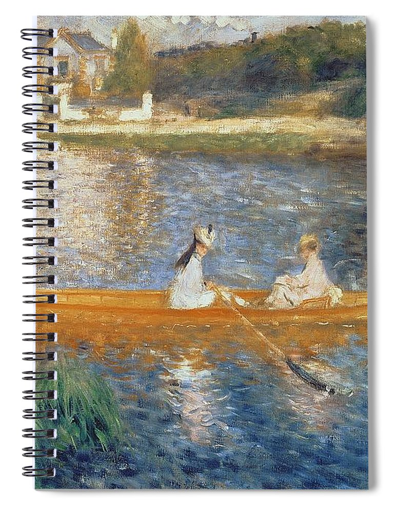 Boating On The Seine Spiral Notebook featuring the painting Boating On The Seine by Pierre Auguste Renoir