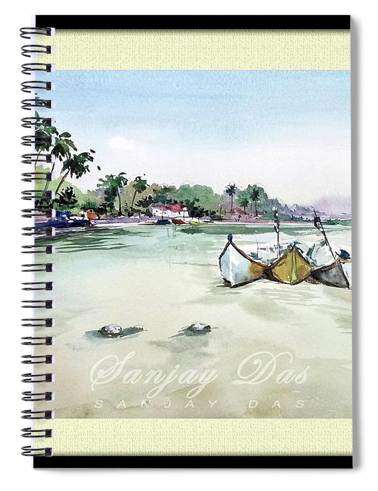 Watercolor Spiral Notebook featuring the painting Boats In Beach by Sanjay Das