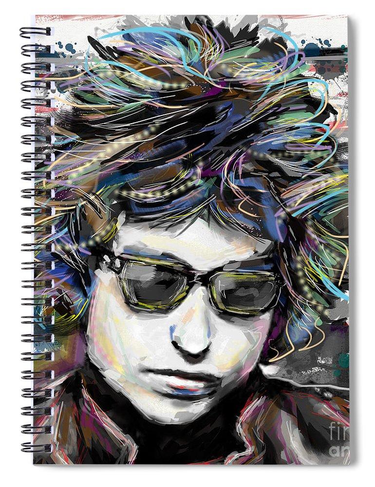 Bob Dylan Spiral Notebook featuring the mixed media Bob Dylan Art by Ryan Rock Artist