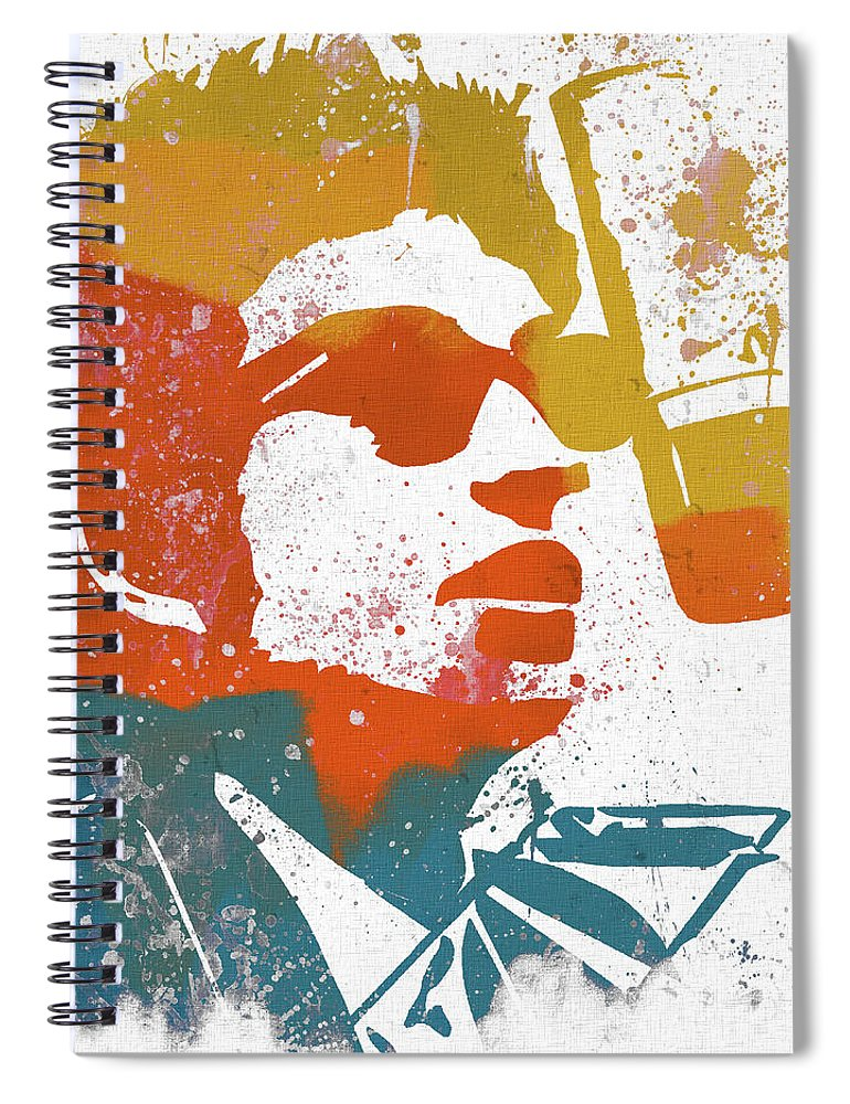 Bob Dylan Watercolor Spiral Notebook featuring the mixed media Bob Dylan by Dan Sproul
