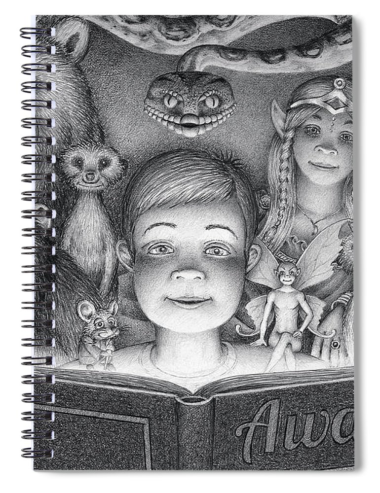 Drawing Spiral Notebook featuring the drawing Book Club by Mike Farrell