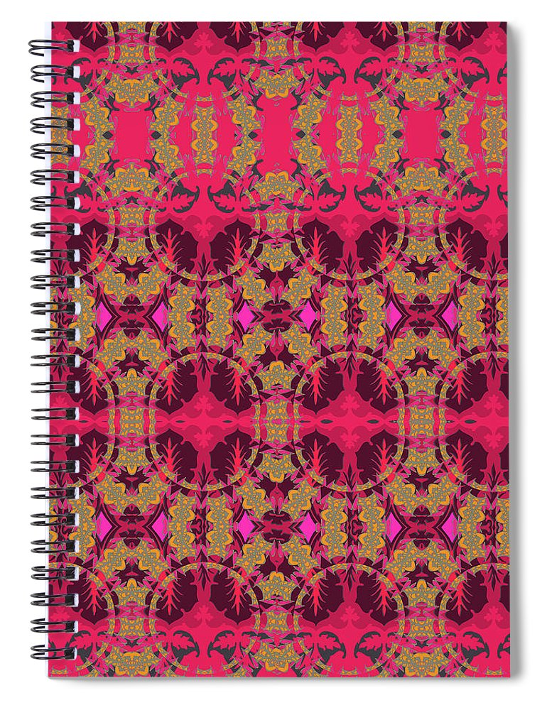 Red Pattern Spiral Notebook featuring the digital art Bordeaux by Ceil Diskin