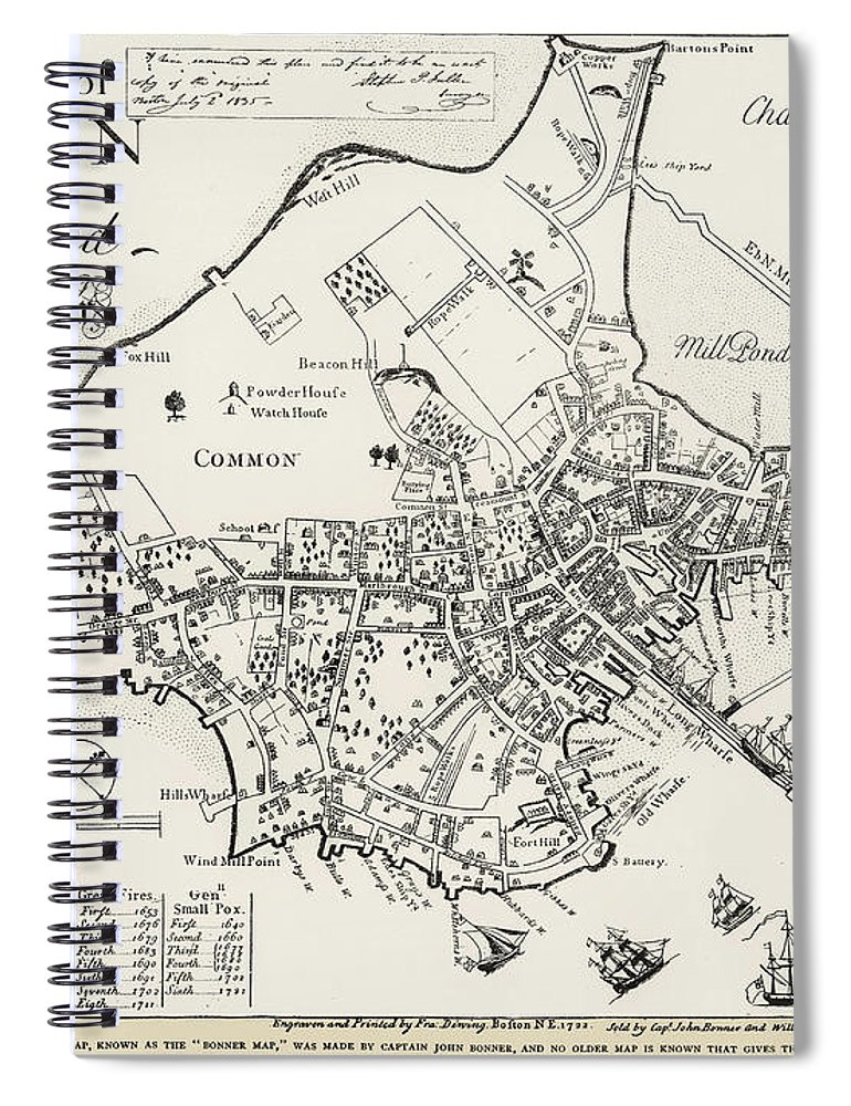 1722 Spiral Notebook featuring the photograph Boston Map, 1722 by Granger