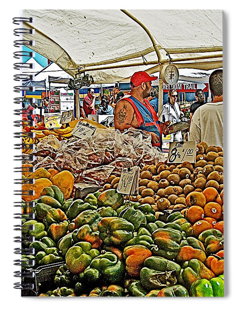 Boston Market Spiral Notebook featuring the photograph Boston Market-Massachusetts by Ruth Hager
