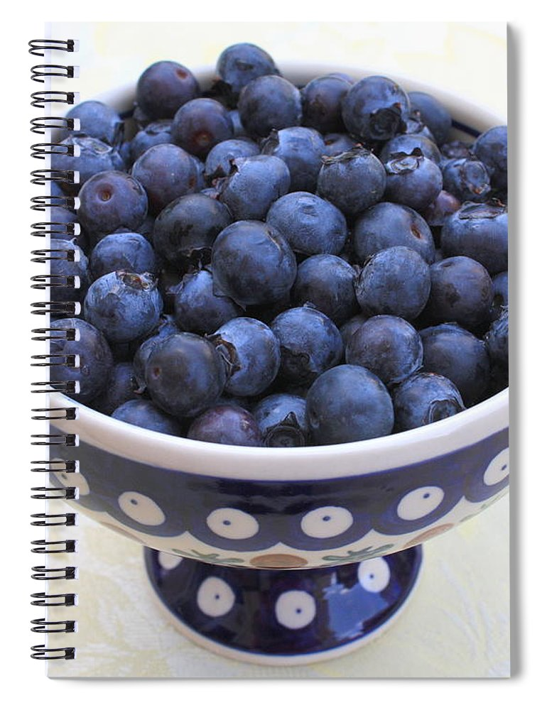 Blueberries Spiral Notebook featuring the photograph Bowl Of Blueberries by Carol Groenen