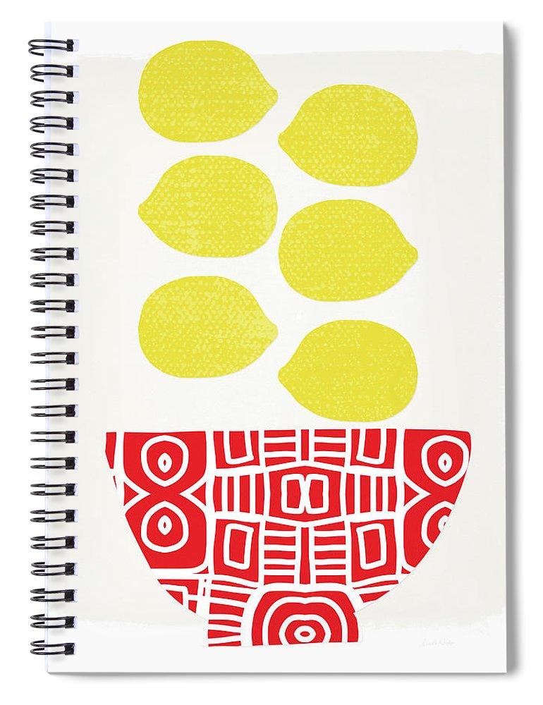 Lemons Spiral Notebook featuring the painting Bowl Of Lemons- Art By Linda Woods by Linda Woods