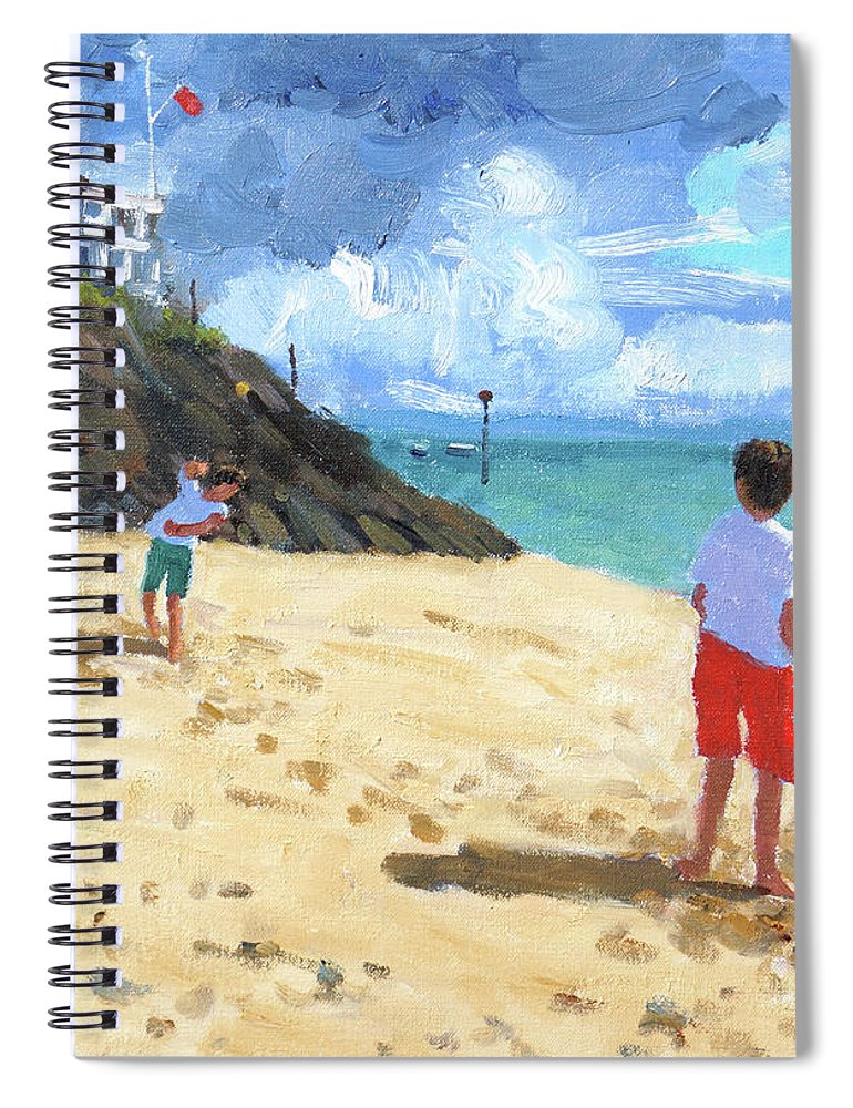 Abersoch Spiral Notebook featuring the painting Bowling And Batting, Abersoch by Andrew Macara