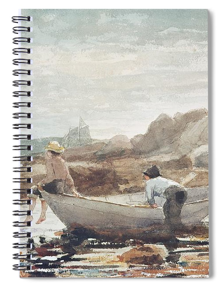 Boys On The Beach (w/c On Paper) By Winslow Homer (1836-1910) Rowing Boat; Fishing; Boy; Male; Children; Child; Playing; Summer; Coast; Coastal; Rocks; Rocky; Boat Spiral Notebook featuring the painting Boys On The Beach by Winslow Homer