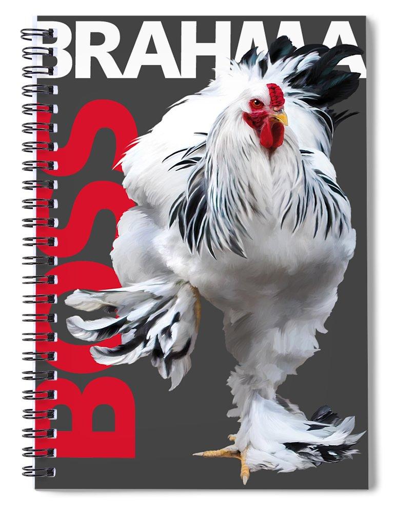 Brahma Spiral Notebook featuring the digital art Brahma Boss T-shirt Print by Sigrid Van Dort