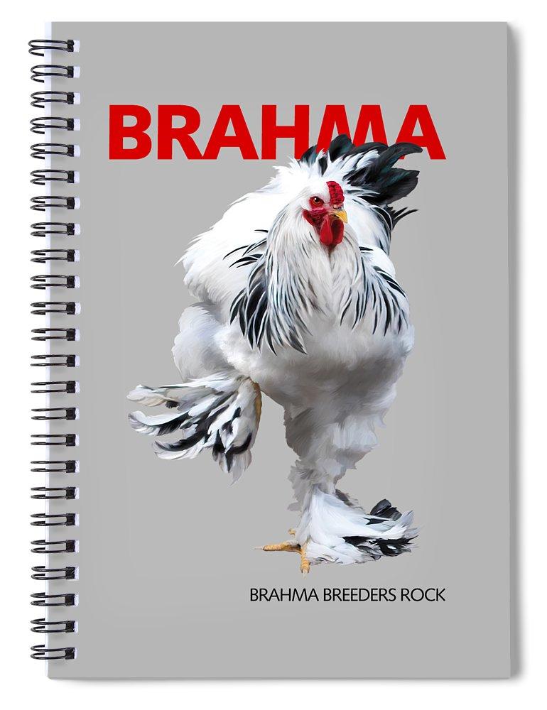 Brahma Spiral Notebook featuring the digital art Brahma Breeders Rock RED by Sigrid Van Dort