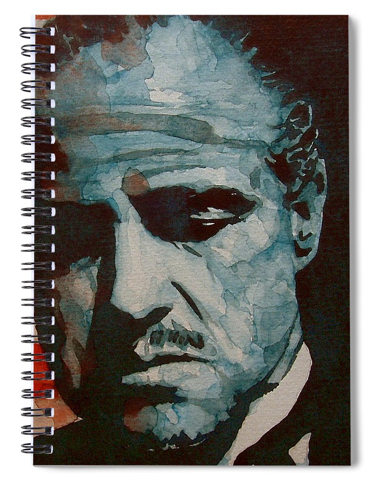 Marlon Brando Spiral Notebook featuring the painting The Godfather-brando by Paul Lovering