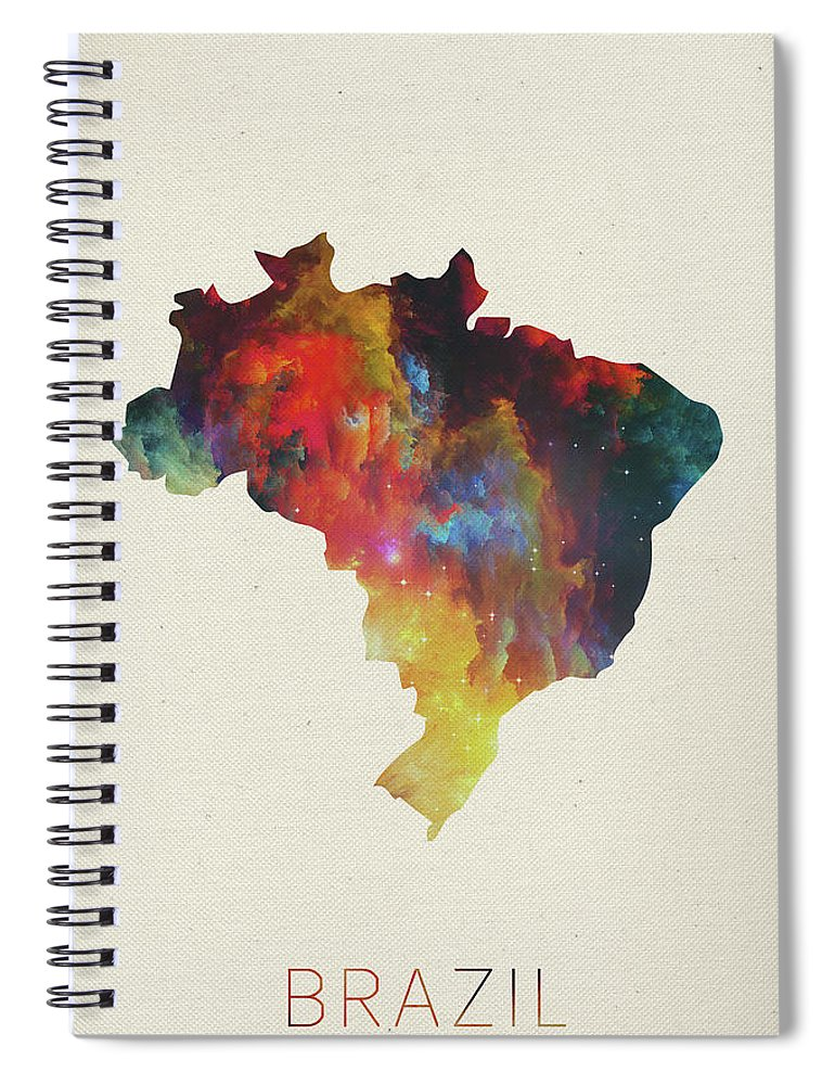 Brazil Spiral Notebook featuring the mixed media Brazil Watercolor Map by Design Turnpike