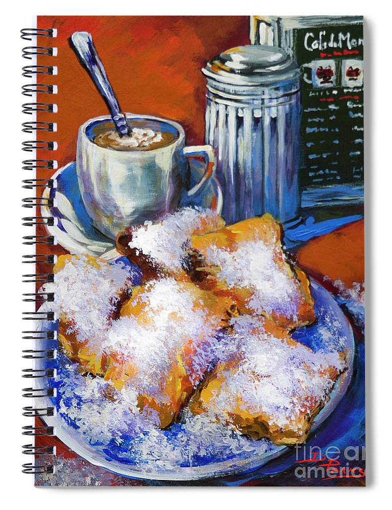 New Orleans Beignets Spiral Notebook featuring the painting Breakfast At Cafe Du Monde by Dianne Parks