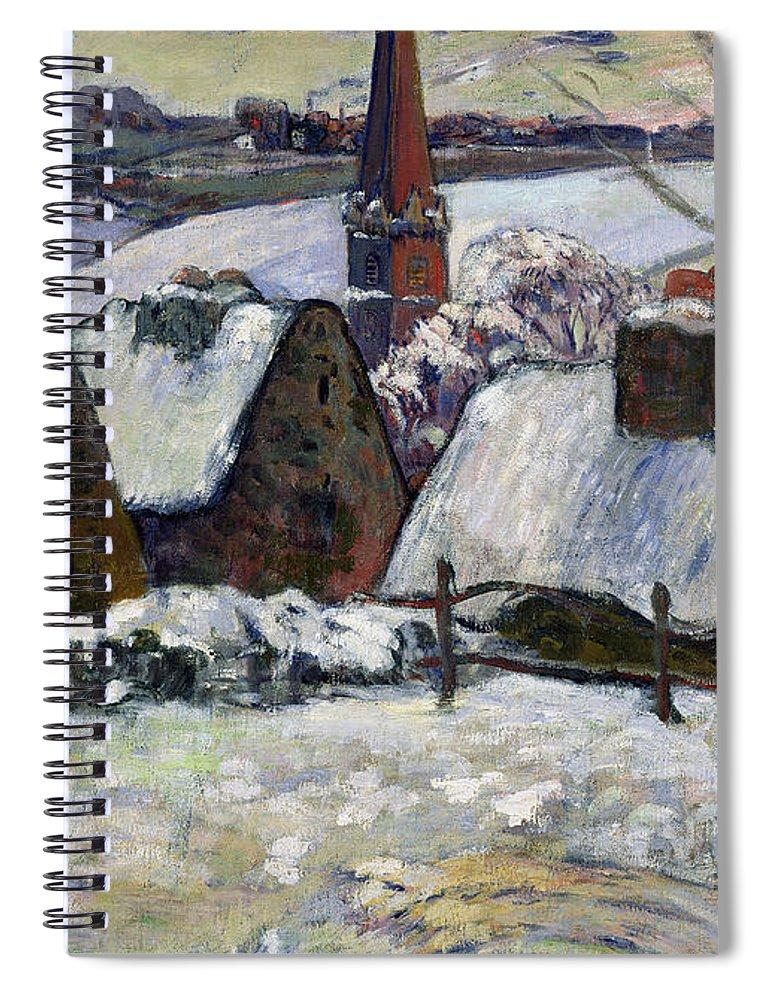 Breton Village Under Snow Spiral Notebook featuring the painting Breton Village Under Snow by Paul Gauguin