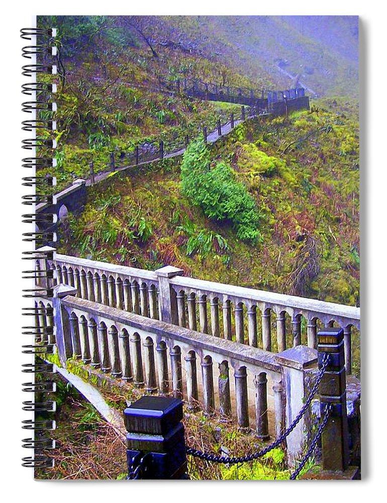 Bridge Spiral Notebook featuring the photograph Bridge at Multnomah Falls by Lisa Rose Musselwhite