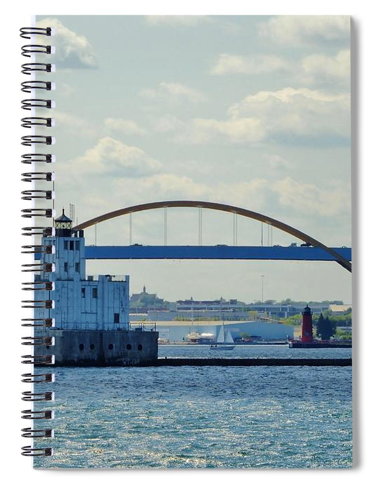 Harbor Spiral Notebook featuring the photograph Bridging The Milwaukee Harbor by Red Cross