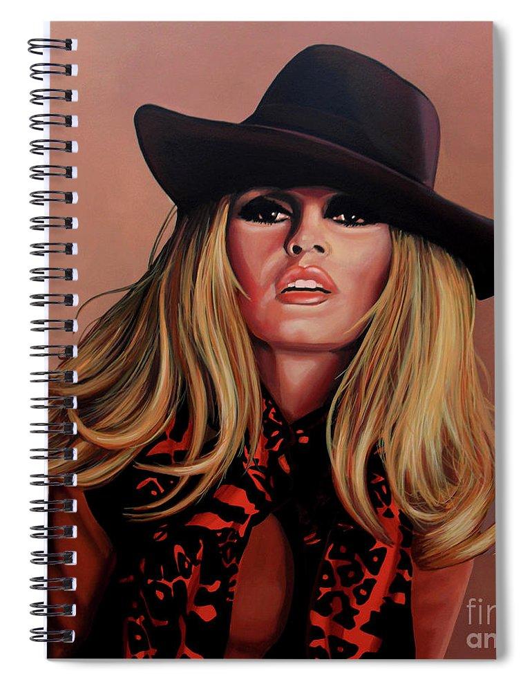 Brigitte Bardot Spiral Notebook featuring the painting Brigitte Bardot Painting 1 by Paul Meijering