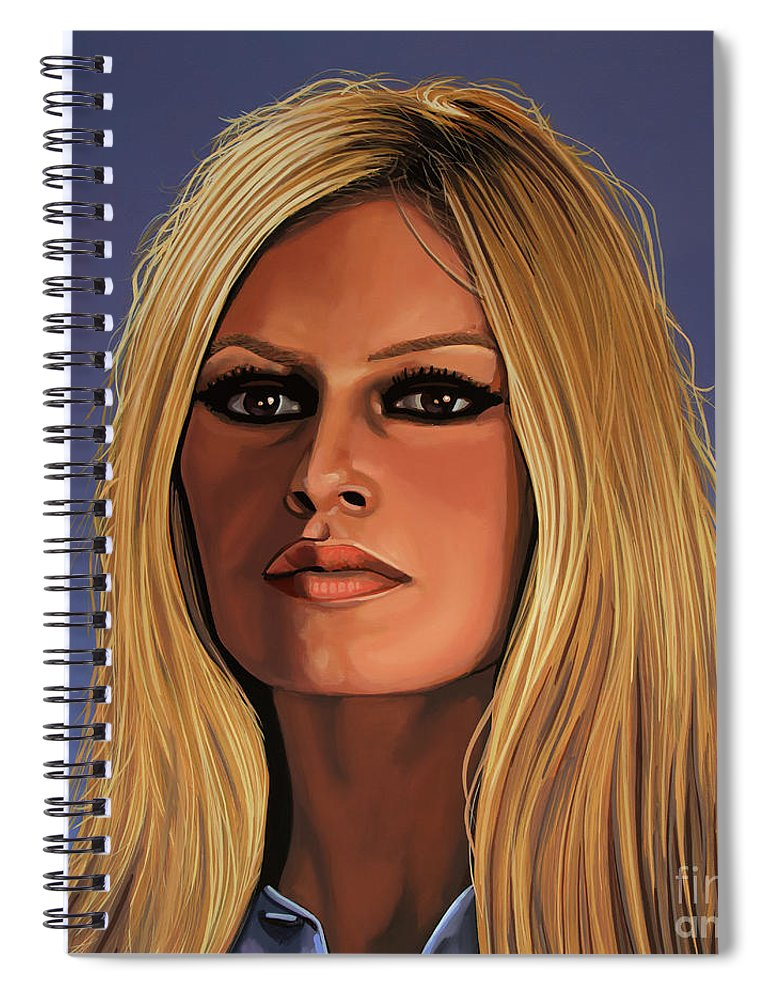 Brigitte Bardot Spiral Notebook featuring the painting Brigitte Bardot Painting 3 by Paul Meijering