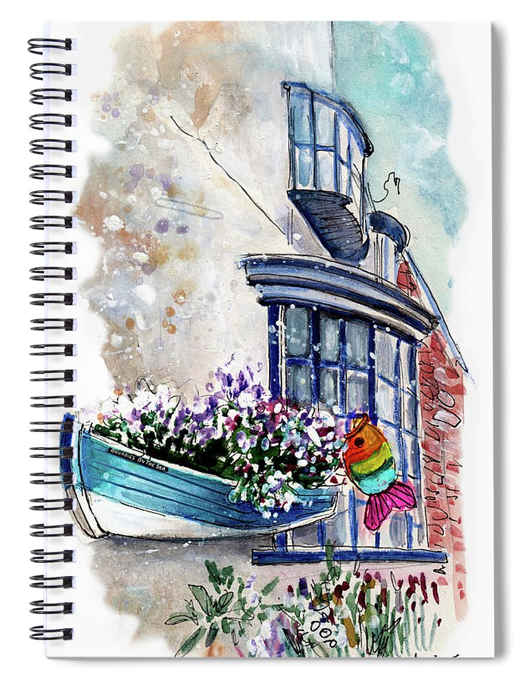 Travel Spiral Notebook featuring the painting Broadies By The Sea In Staithes by Miki De Goodaboom