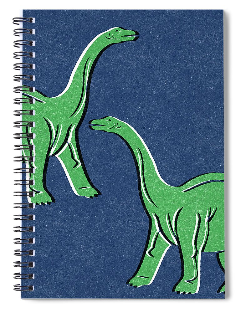 Dinosaur Spiral Notebook featuring the mixed media Brontosaurus by Linda Woods