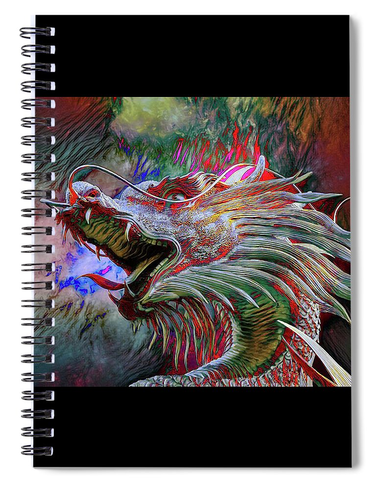 Abstract Spiral Notebook featuring the photograph Bronze Dragon Head by Robert Kinser
