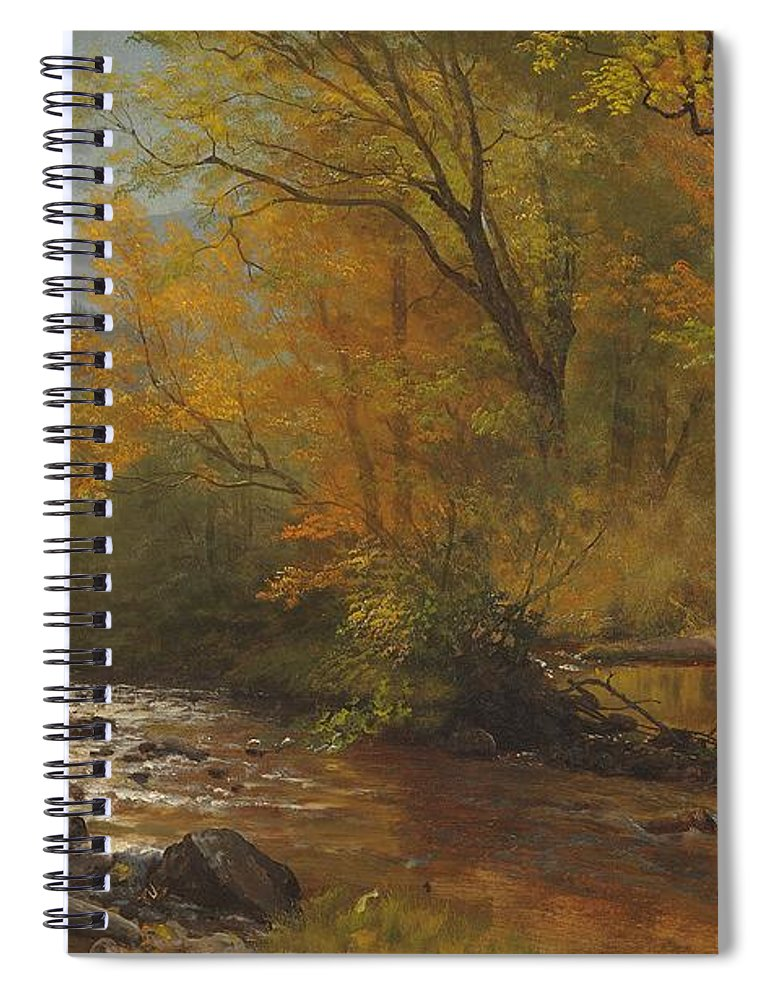 Landscape; Romantic; Romanticist; America; North America; American; North American; Landscape; Rural; Countryside; Wilderness; Scenic; Picturesque; Atmospheric; Brook; Babbling; Stream; River; Wood; Woods; Wooded; Forest; Autumn; Fall; Autumnal; Seasons; Calm; Peaceful; Tranquil Spiral Notebook featuring the painting Brook In Woods by Albert Bierstadt
