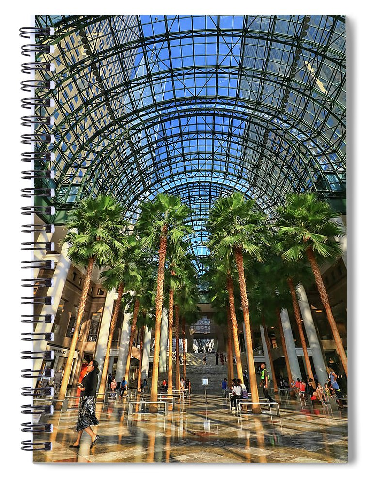 Atrium Spiral Notebook featuring the photograph Brookfield Place Atrium - N Y C # 2 by Allen Beatty