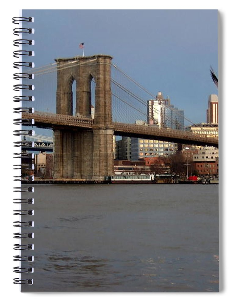 Brooklyn Bridge Spiral Notebook featuring the photograph Brooklyn Bridge and Bird in Flight by Anita Burgermeister