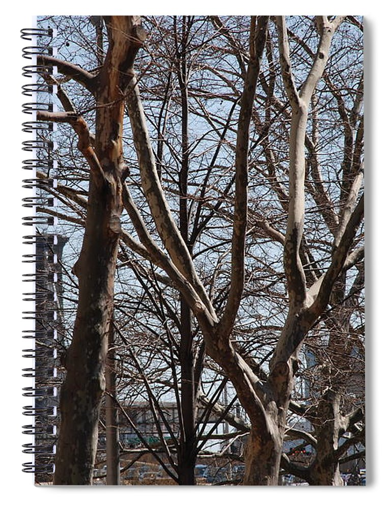 Architecture Spiral Notebook featuring the photograph Brooklyn Bridge Thru The Trees by Rob Hans