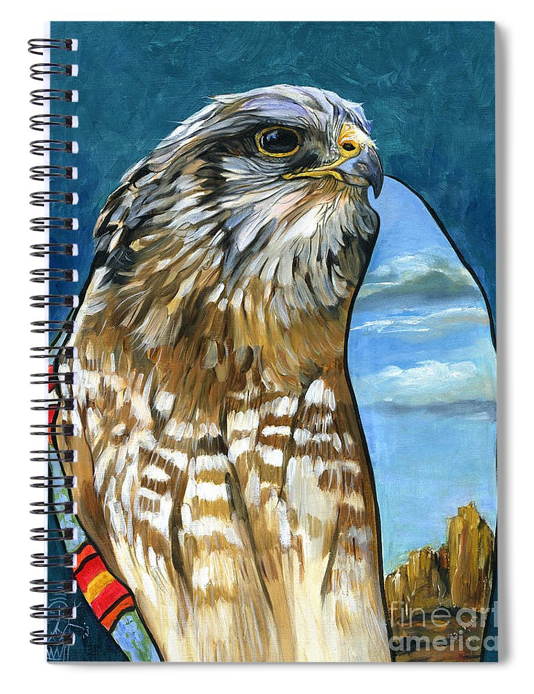 Hawk Spiral Notebook featuring the painting Brother Hawk by J W Baker