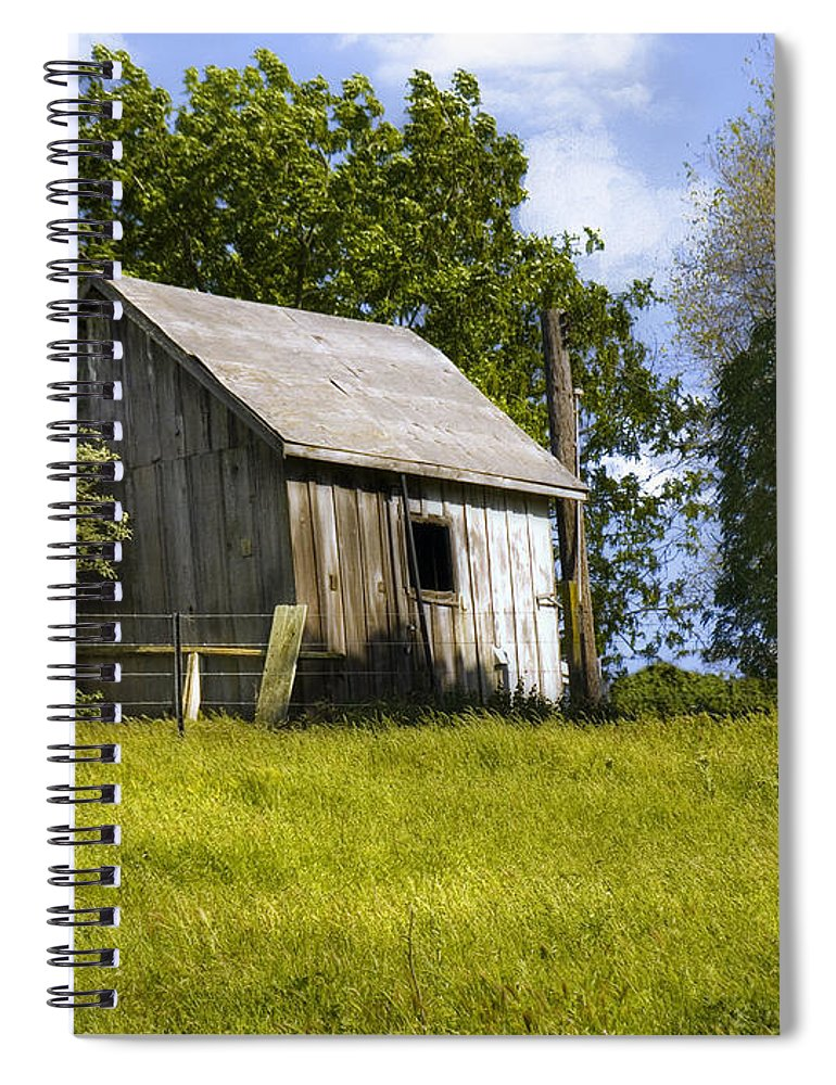Landscape Spiral Notebook featuring the photograph Brushy Peak Cabin by Karen W Meyer