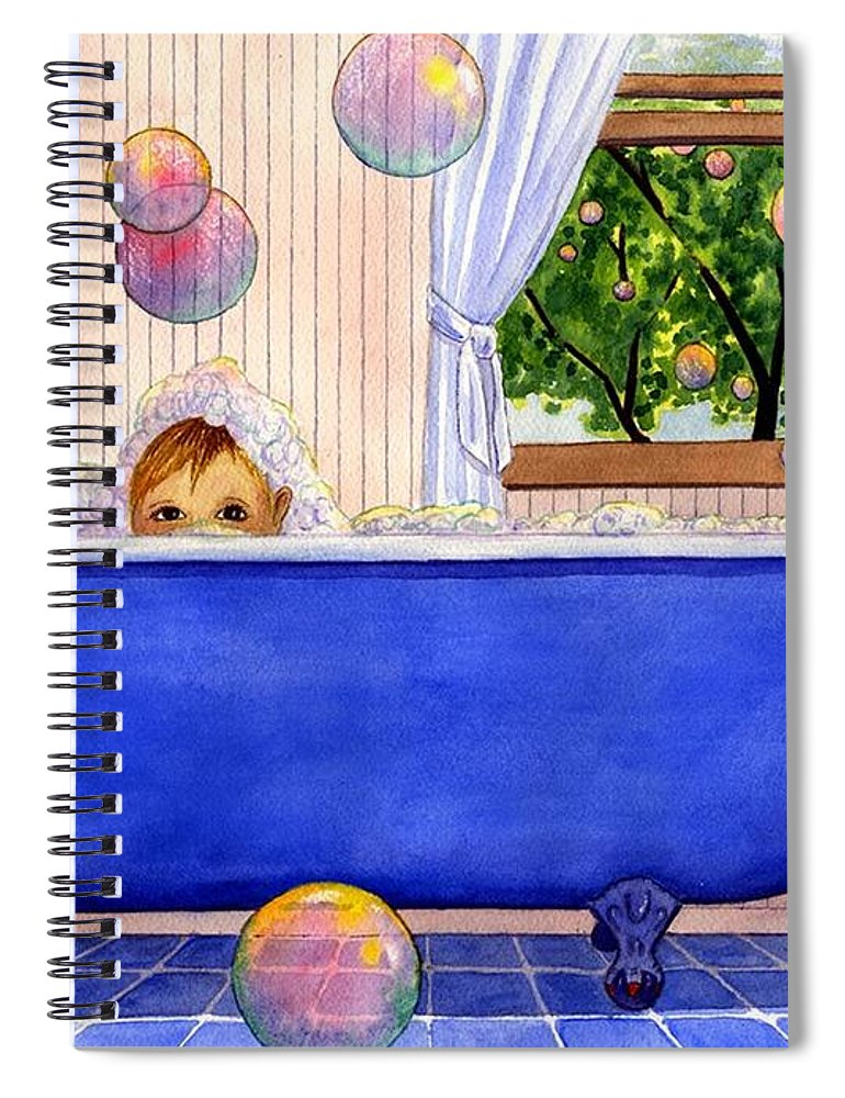 Bath Spiral Notebook featuring the painting Bubbles by Catherine G McElroy
