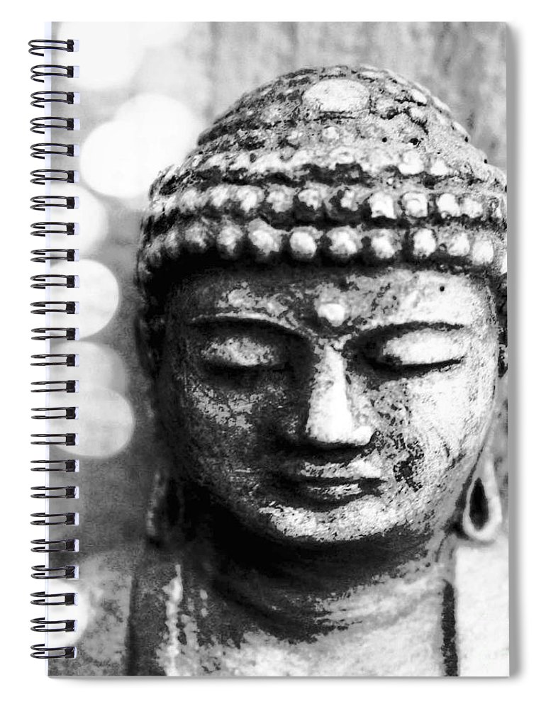 Buddha Spiral Notebook featuring the mixed media Buddha by Linda Woods