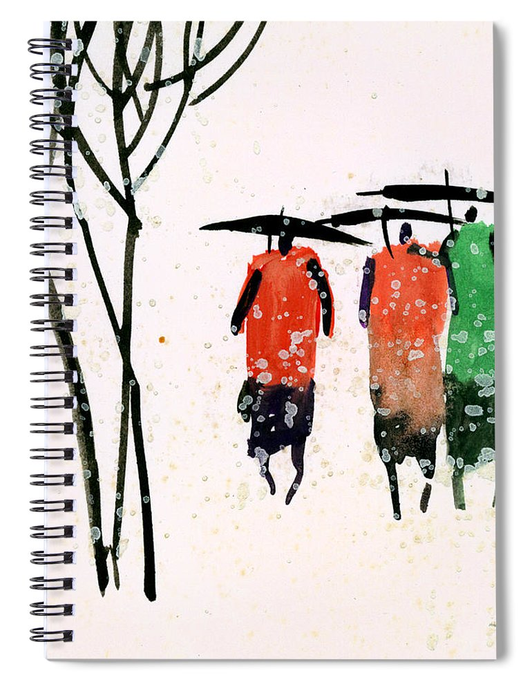 People Spiral Notebook featuring the painting Buddies 3 by Anil Nene