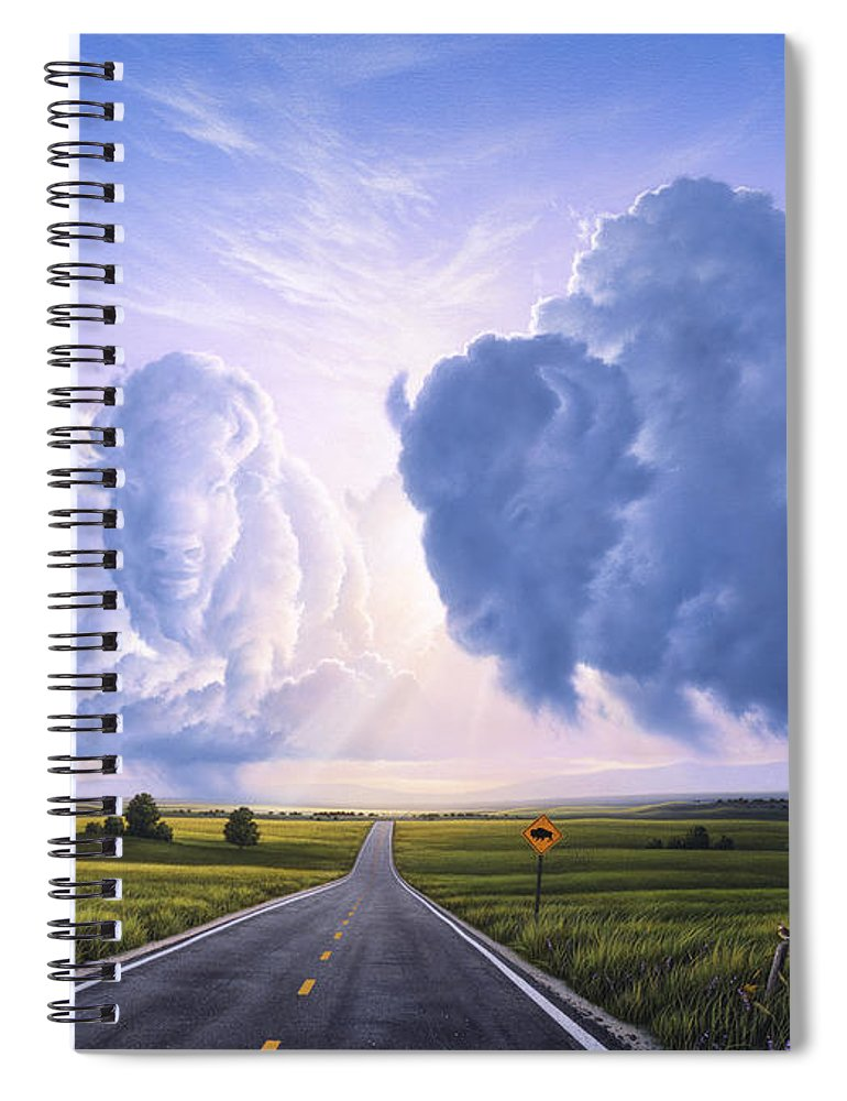 Buffalo Spiral Notebook featuring the painting Buffalo Crossing by Jerry LoFaro
