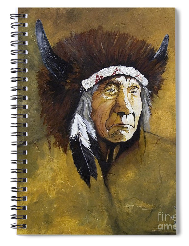 Shaman Spiral Notebook featuring the painting Buffalo Shaman by J W Baker